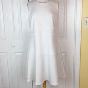 Calvin Klein a-line white scuba knit dress
